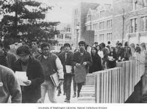 MECHA student demonstration outside of Padelford Hall at the University of Washington, Seattle, Washington, 1970